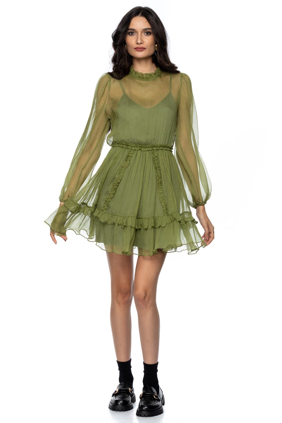Rochie eleganta din matase verde ocru Gladis