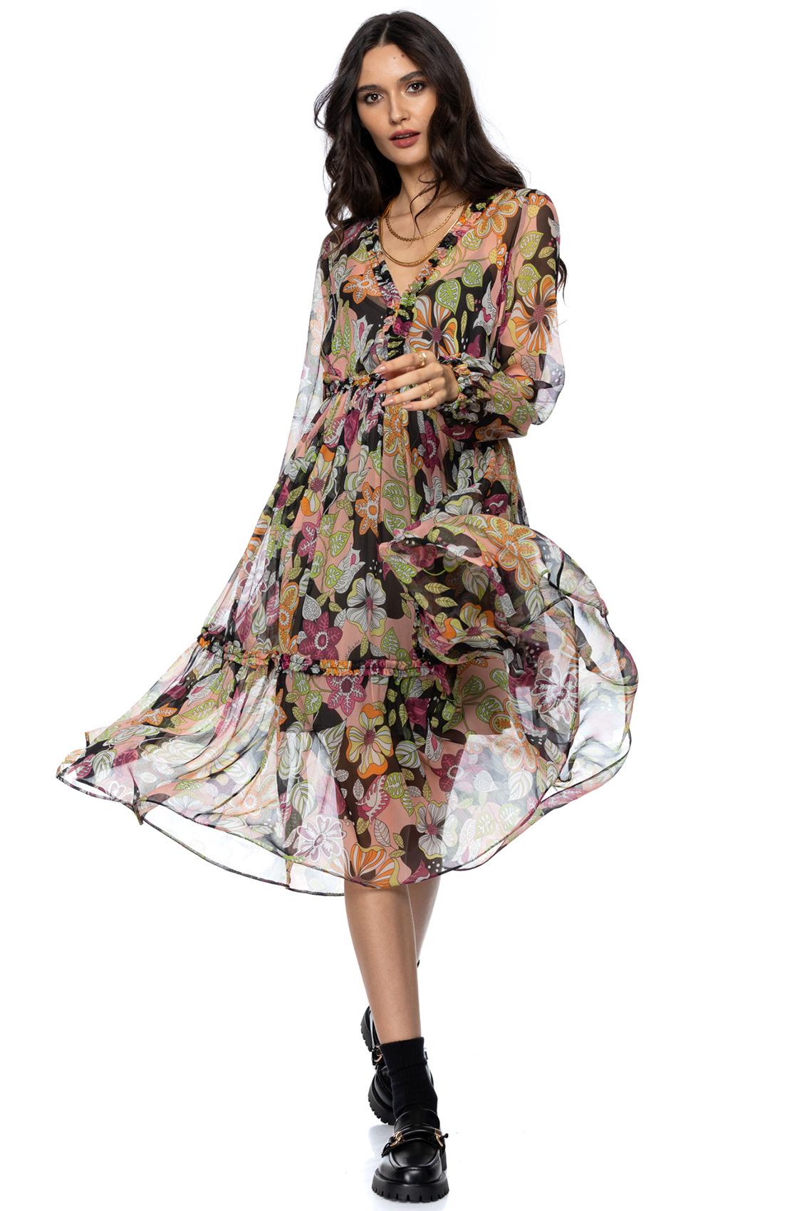 Rochie eleganta midi din matase Florisa