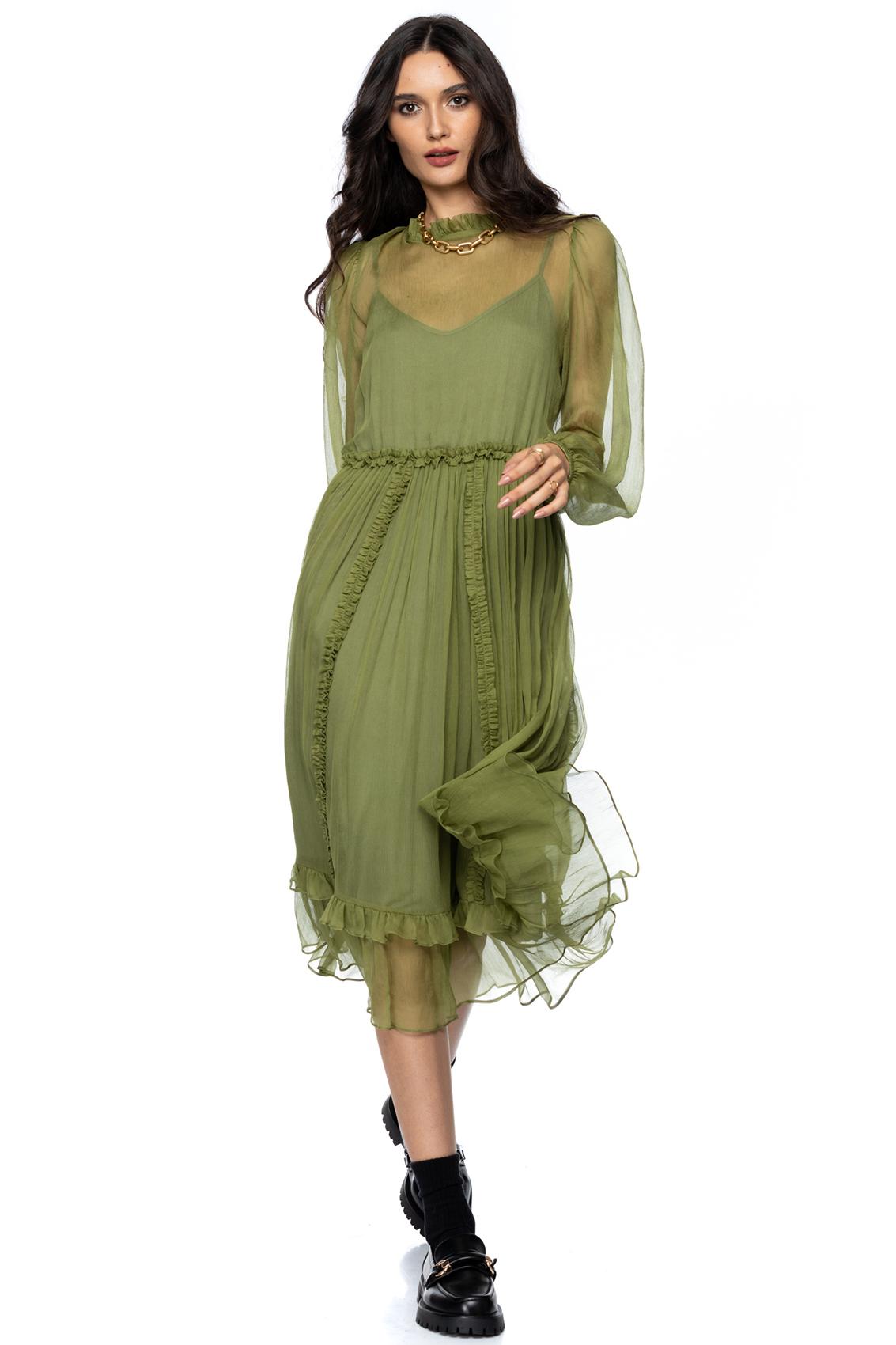Rochie eleganta midi din matase verde ocru Darla